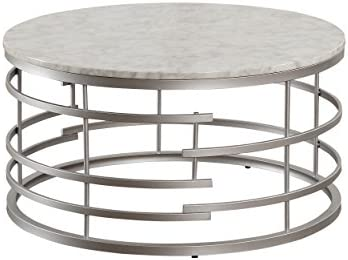 Homelegance Brassica 34″ Round Faux Marble Coffee Table