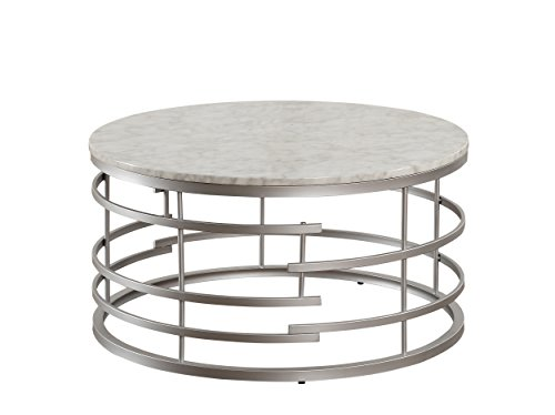 Round Marble Top - Homelegance Brassica Round Faux Marble Top Coffee Table, Silver