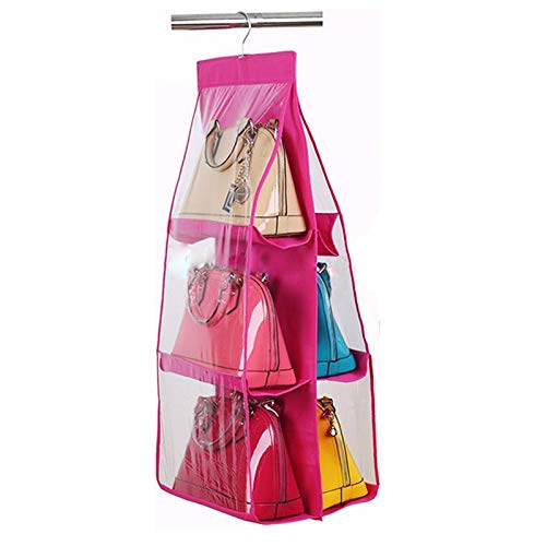 Rose Bag - 6 Compartments Hanging Storage Wall Organizer Bag Rose Red - Wall Kitchen Coats Shoes Storage Organizer Pockets Kids Bathroom Office Plastic Fabric File Organizers Cute Mesh Hanging
