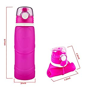 SIXBOX Foldable water bottle- 750ml travel mountaineering silicone bottle, BPA Free, FDA Approved,Leak Proof Silicone Foldable Sports Water Bottle. (pink)