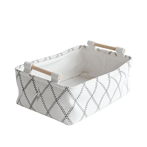 Storage Baby Baskets (Cutieunion Decorative Collapsible Rectangular Fabric Storage Bin Organizer Basket with Wooden Handles for Clothes and Toy Storage(11×6.7×3.5 inch))