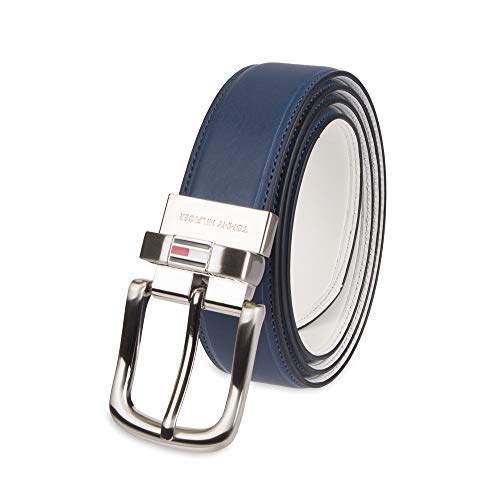 Tommy Hilfiger Reversible Leather Belt - Casual for Mens Jeans with Double Sided Strap and Silver Buckle, navy/white, 36