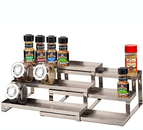 ALhom Spice Rack Organizer for Cabinet/Wall Mount/Countertop/Pantry - 3 Tier Expandable Spice Shelf - Stainless Steel