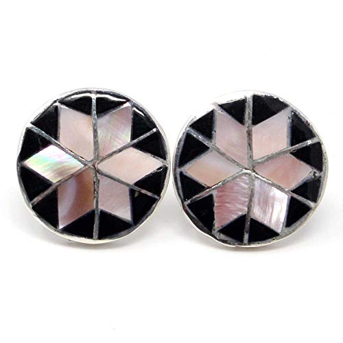 Zuni Pink Mussel Shell & Jet Inlay Stud Earring by Chavez | 3/4