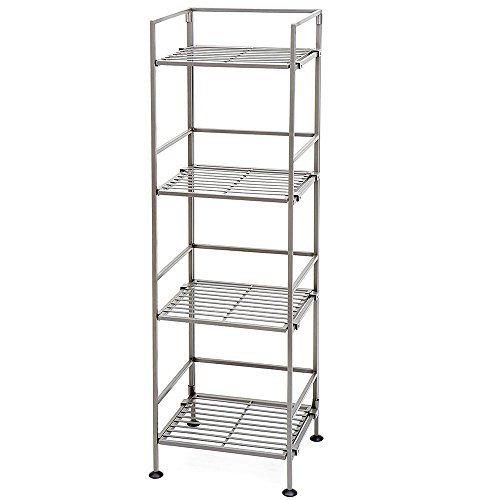 SC Minimal Bookshelf Storage 4 Level Foldable Free Standing Single Bookcase Floor Narrow Modern Iron Folding Ideal Bookshelf Easy Assembly Office Skinny Contemporary 4 Tier Tower and eBook by NAKSHOP