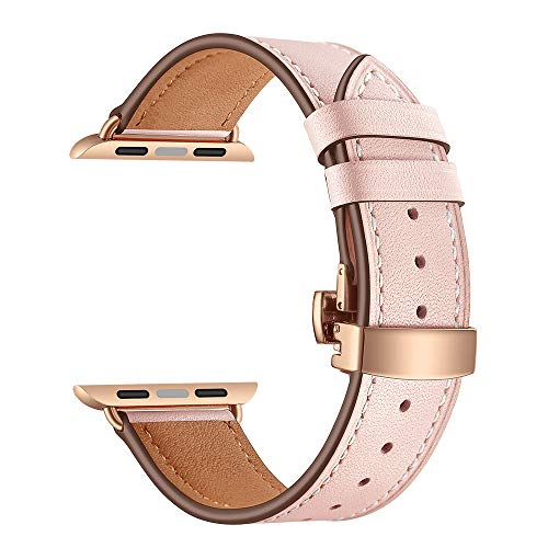Price comparison product image Morrivoe Fashion Leather Wrist Watch Strap Band Butterfly Buckle Compatible with IWatch 4 Apple Watch 40mm