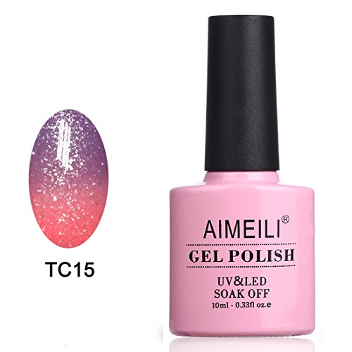 AIMEILI Soak Off UV LED Temperature Color Changing Chameleon Gel Nail Polish - New Glitter Purple To Pink (TC15) 10ml]()
