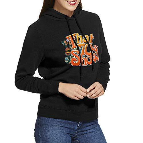 ME COO Womens Graphic Print That 70s Show Long Sleeve Hoodie Sweatshirt Tops XXL Black