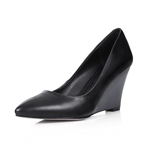 VogueZone009 Women's High Heels Pointed Closed Toe Solid Pull On Pumps Shoes Black oNgTTWSzBT