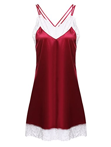 Ekouaer Sexy Backless Sleepware Women's Satin Lace Camisole Sleep Dress(Red,M)