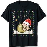 Snail With Christmas Led Santa Hat Shirt