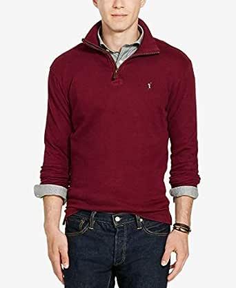 Polo Ralph Lauren Men Estate Rib Half Zip Red Cotton Sweater
