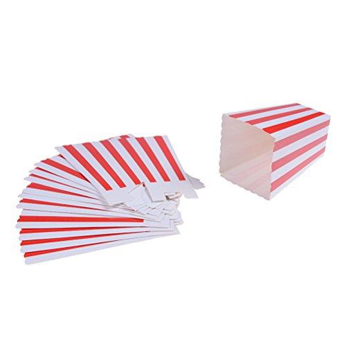 12 Pcs Popcorn Boxes Striped Paper Popcorn Boxes Open-Top Popcorn Box For Party Favor Supplies