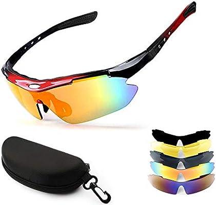 New rui cheng Gafas de Ciclismo, Gafas Deportivas Gafas de Sol Deportivas Polarizadas con 3 Lentes Intercambiables Protección UV 400 Gafas de Sol Pesca al Aire Libre Conducción Gafas Hombres Mujeres: Amazon.es: