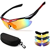 Cycling Glasses, NEW RUICHENG Sport Glasses Polarized Sports Sunglasses with 5 Interchangeable Lenses Anti-UV400…