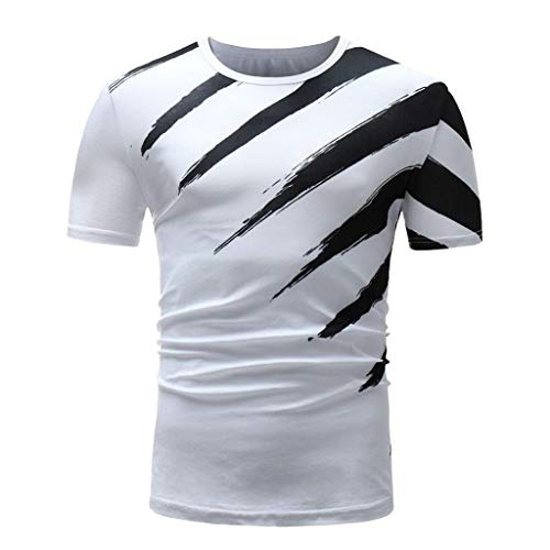 (Mens Casual Paint Ink Creative T-Shirt Quick Dry Performance Muscle Fitness Blouse Short Sleeve Crewneck Tee by Leegor)
