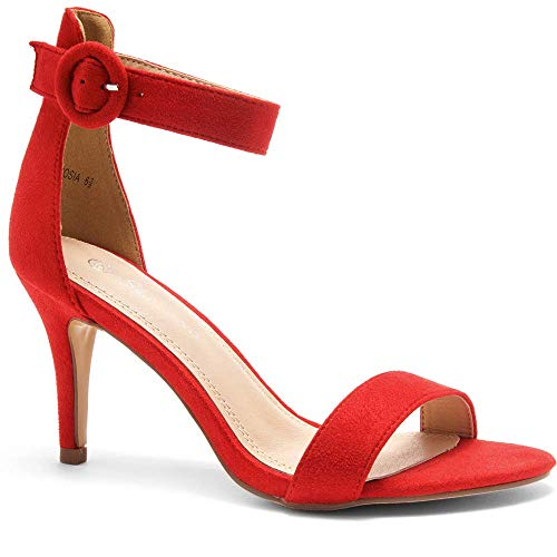 - Herstyle Ambrosia Women's Open Toe High Heels Dress Wedding Party Elegant Heeled Sandals Red 5.5