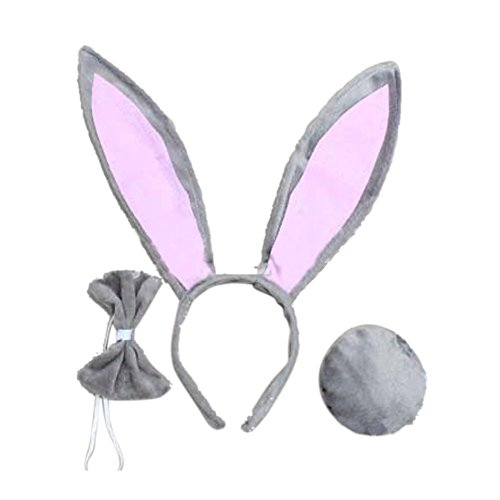 SQ Woman Girls Rabbit Bunny Ears Headband Tail Bow Tie for Cosplay -