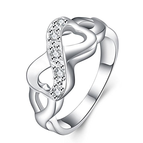 LWLH Jewelry Womens 925 Sterling Silver Plated Cubic Zirconia CZ Heart Infinity Symbol Ring Wedding Size 4