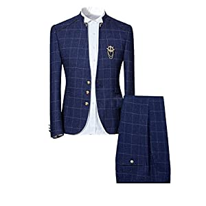 Best Epic Trends 41XWhKZGS2L._SS300_ Mens Plaid Slim Fit Checked Suits 2 Piece Vintage Jacket and Trousers