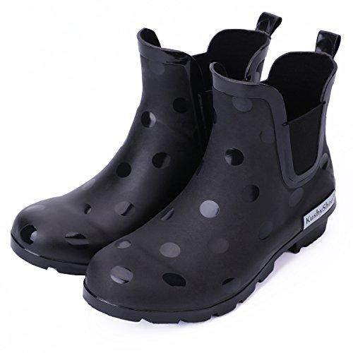 KushyShoo Women's Matte Light Ankle Rain Boot Rubber Elastic Rain Booties by KushyShoo