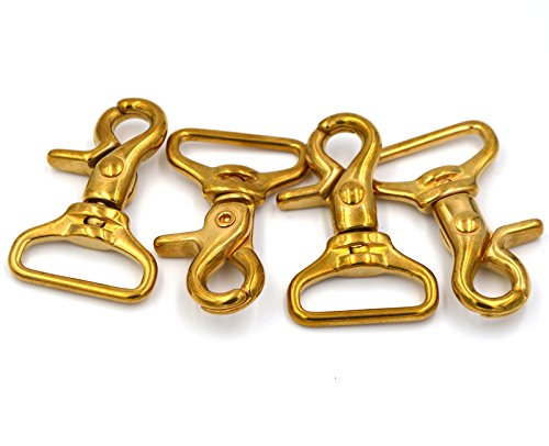 Brass Swivel Solid (Okones Pack of 4,3/4''(19mm)Eye Diameter,2'' Overall Length,Finish Surface Square Solid Brass Lobster Clasps Oval Swivel Trigger Clips Hooks (3/4''2''length Square))