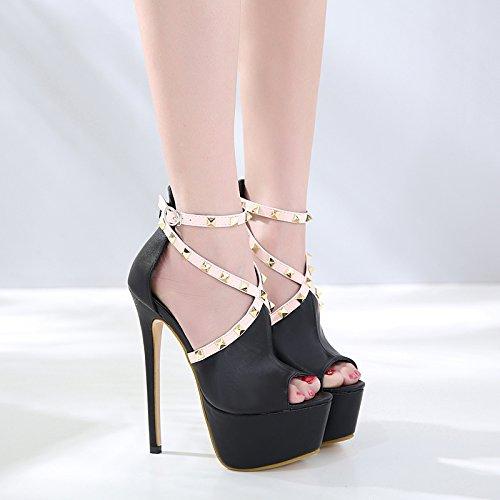 Nightclub Black Teatrali Women's Tacchi Grossolana Sulla Spillo 16cm scarpe Rappresentazioni Gtvernh Con Sandali tacco A Passerella Scarpe Modelli Shoes Delle Super donna Xd1dwTx
