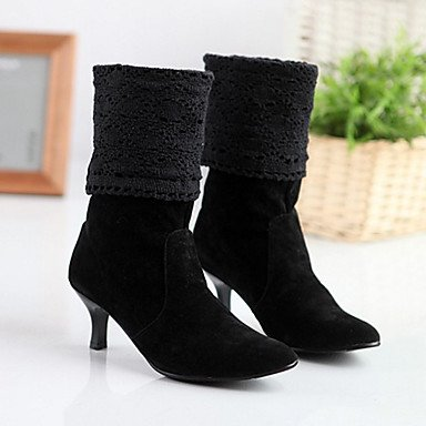 RTRY Women's Shoes PU Fall Winter Comfort Novelty Fashion Boots Boots Stiletto Heel Pointed Toe Mid-Calf Boots For Wedding Party & Evening US5 / EU35 / UK3 / CN34 FoziGn