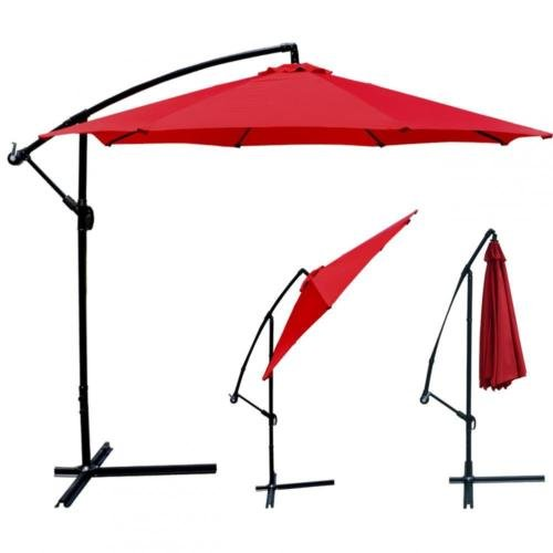Red Patio Umbrella Offset 10' Hanging Umbrella Outdoor Market Umbrella - Galleria York
