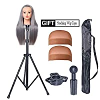 HOOMBOOM Mannequin Head Stand, Wig Stand Tripod - Mannequin Block Head Holder Metal Adjustable Tripod Stand Holder for Hair Salon Cosmetology Hairdressing Training Head with Carry Bag