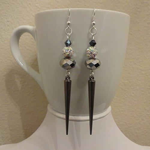 Gunmetal, Grey & Silver Sparkle Spike Swarovski Crystal Dangle Earrings