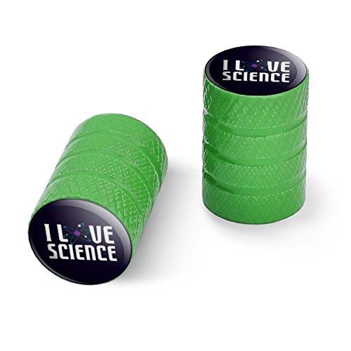 私は科学の原子を愛するオートバイ自転車バイクタイヤリムホイールアルミバルブステムキャップ - グリーン