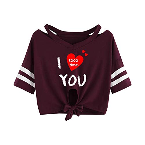 Sunhusing Ladies Letters Number Love Heart Printed Hem Bow Knotted Lace-Up Off-Shoulder Short Sleeve Shirt Red