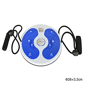 Magnetic therapy body twister figure trimmer waist& abdomen trainer wriggling plate fitness rotatable balance disc with ropes (Blue, 70kg)
