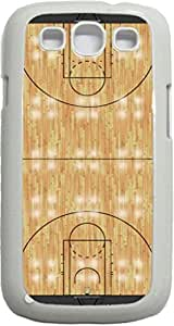 Basketball Court- Case for the Samsung Galaxy S3 i9300 -Soft White Rubber Case with a Swinging Open-Close Flap that Covers the screen