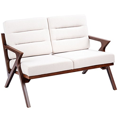 Two Seat Lounge Bench - G Loveseat Armchair Sofa Bench Fabric Upholstered Wooden Two-Seat Lounge