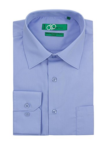 "Bianco B Men's Modern Classic Fit 2 Ply Pure Cotton Solid Dress Shirt (19.5"" Neck 36-37 Sleeve, Light Blue)"