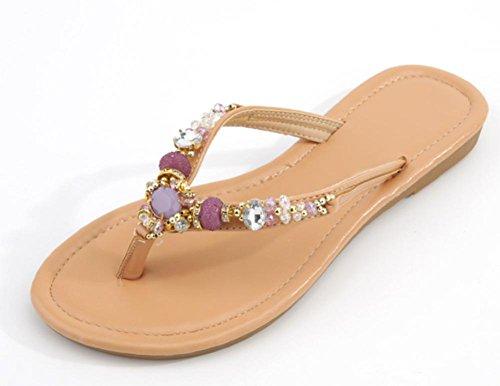 Sommer Weiblich Sandalen Flach Sandalen Frau weiblich Frau gezogen mit Sandwich Sandalen violett