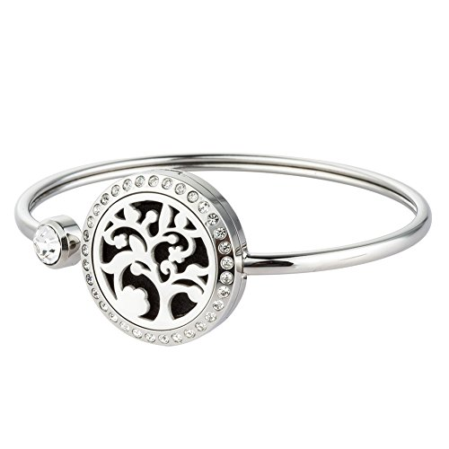 Jenia 25MM Stainless Steel Locket Crystal Bracelet Essential Oil Diffuser Bangle Bracelet with Refill Pads (tree essential oil (Spirit Costume Coupon)