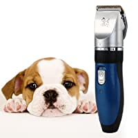 CLAS Pet Grooming Clipper, Low noise Dogs and Cats Rechargeable Cordless Electric Hair Trimming Clipper Set with Comb Guides for Dogs Cats and House Animals (Blue)