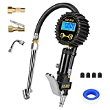 AZUNO Digital Tire Inflator with Gauge, 200 PSI (0.1 Res) w/LED Flashlight, Heavy Duty Air Compressor Accessories 7pcs Set, w/Lock on Air Chuck, Dual Head Chuck and 90° Tire Valve Extension