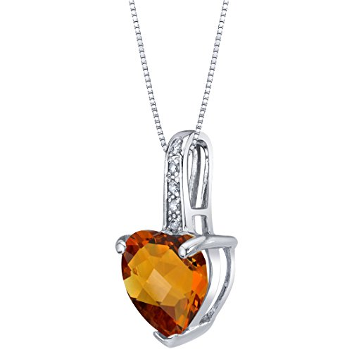 14K White Gold Genuine Citrine and Diamond Heart Pendant 1.50 Carats