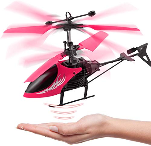 SurToys Helicopter Toy Plane Flying Toys Induction Hover RC Helicopter with Remote Control Rechargeable Infrared Induction Drone for Kids Children Boys Girls