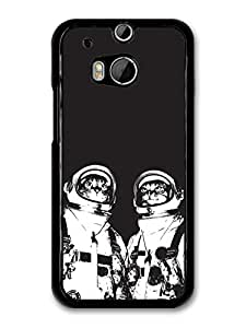 Two Cats In Space Black & White Illustration case for HTC One M8