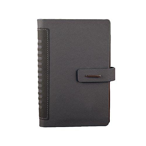 Vintage Leaf Leather Cover Loose Leaf Blank Journal Diary (Grey) - 8