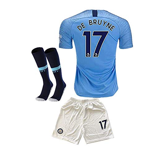 8b96d91b932 #17 DE BRUYNE Manchester City Kids/Youth Home Boys Soccer Jersey & Shorts &