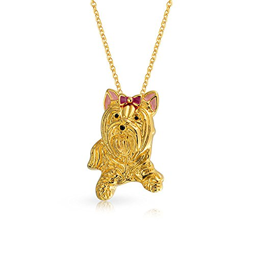 [Bling Jewelry Gold Plated Yorkshire Terrier Dog Pendant Necklace Brooch] (Yorkshire Terrier Jewelry)