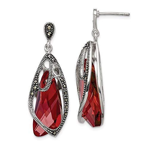 925 Sterling Silver Marcasite Swarovski Elements Drop Dangle Chandelier Post Stud Earrings Fine Jewelry Gifts For Women For Her
