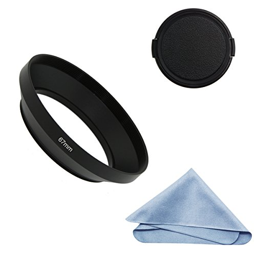 (SIOTI Camera Wide Angle Metal Lens Hood with Cleaning Cloth and Lens Cap Compatible with Leica/Fuji/Nikon/Canon/Samsung Standard Thread Lens(67mm))