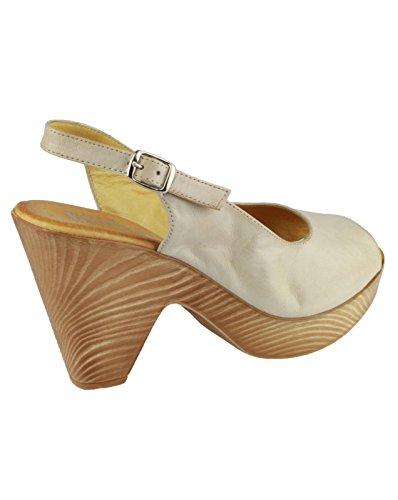 Riva Perlen Leder Damen Sommer Schuhe Beige